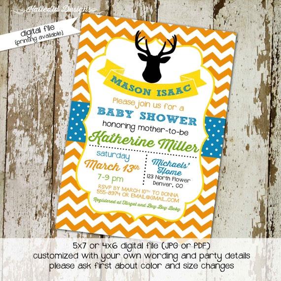 woodland deer baby shower invitation boy couples coed diaper wipes brunch orange chevron blue twins birthday hunting | 12108 Katiedid Cards