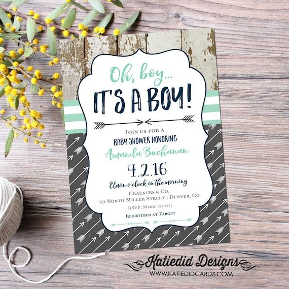 rustic baby boy shower invitation | boy oh boy | boho baby shower tribal | baby boy shower invitation arrows | diaper | 12120 Katiedid Cards