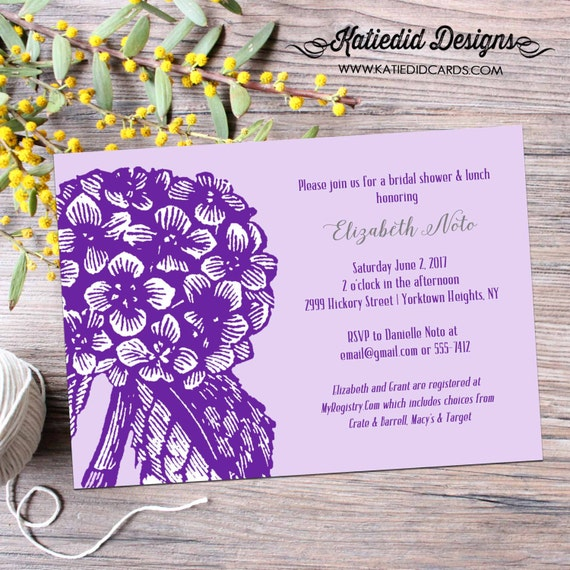 Couples shower Invitation bridal I do BBQ engagement party stock the bar Rehearsal Dinner floral hydrangea purple | 354 Katiedid Designs