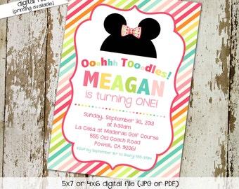 minnie mouse birthday invitation oh toodles rainbow stripe couples baby shower disney theme girl mickey first birthday   264 Katiedid card