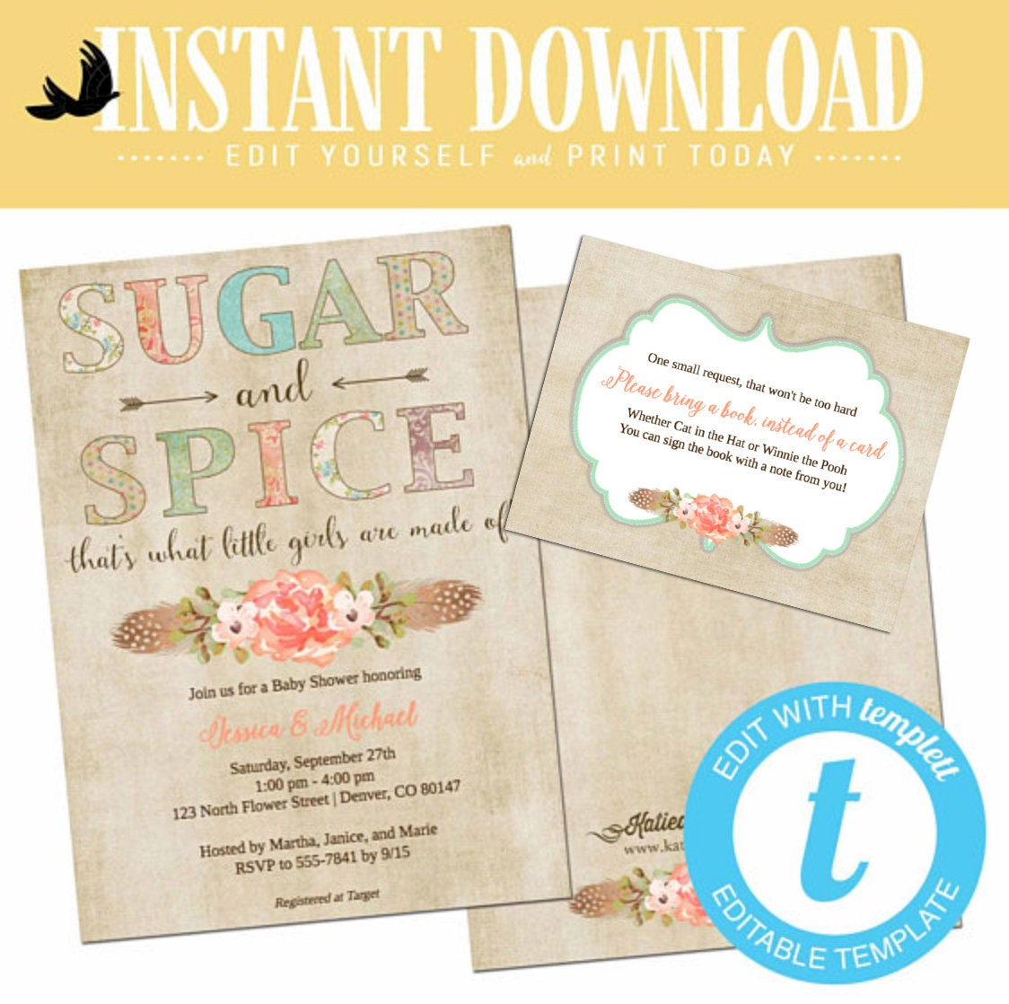 Sugar And Spice Baby Shower Invitation Twin Boho Chic Tribal Rustic