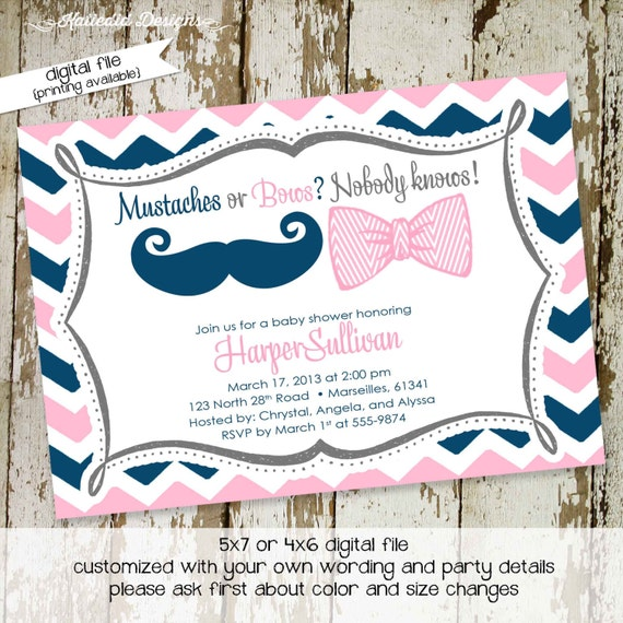 gender reveal invitation mustache or bows twins baby shower couples coed diaper wipes neutral navy pink brunch he she | 1444 Katiedid Design