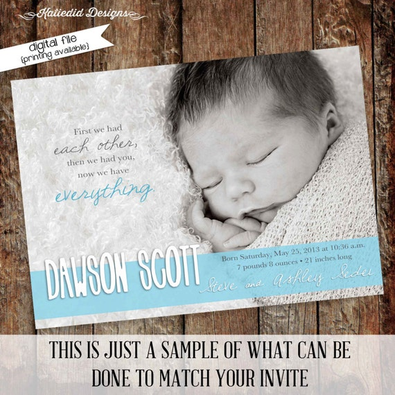 birth announcement pregnancy newborn photo card picture first communion invitation mormon LDS baptism baby blessing | 409 Katiedid Designs