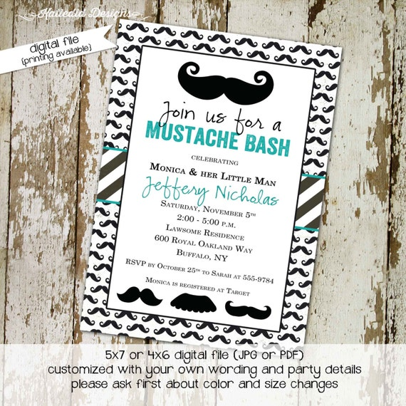 Mustache baby boy shower invitation Little man Gentleman couples coed sprinkle sip see diaper wipes teal black white stripes | 1281 Katiedid