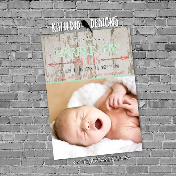 boho birth announcement tribal baby shower invitation ultrasound photo pregnancy coral mint birthday party graduation | 430 katiedid designs