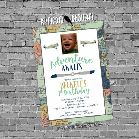 Adventure awaits birthday picture invitation baby shower ultrasound photo World map Vintage Airplane Travel Theme mint navy | 12124 Katiedid