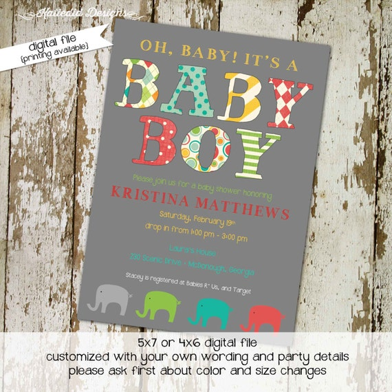 elephant baby shower invitation gender reveal neutral couples coed diaper wipes sprinkle sip see boy birthday gray | 1209 Katiedid Designs