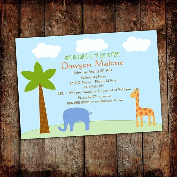 safari baby shower invitation elephant couples coed sprinkle sip see boy twins giraffe birthday gender reveal neutral   1243 Katiedid Design