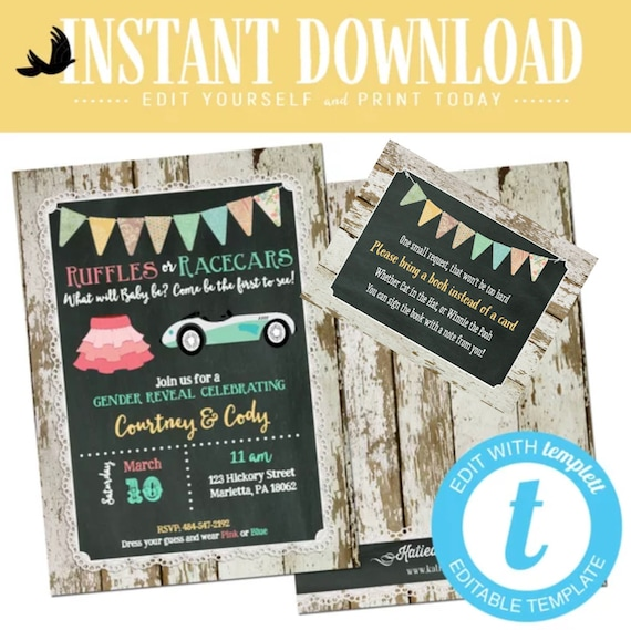 twin Gender reveal invitation ruffles racecars lace couples baby shower neutral boy girl brother sister editable chalkboard | 1473 Katiedid