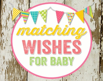 WISHES for BABY to match any invitation for baby shower or bridal shower, digital, DIY printable file Katiedid Designs cards