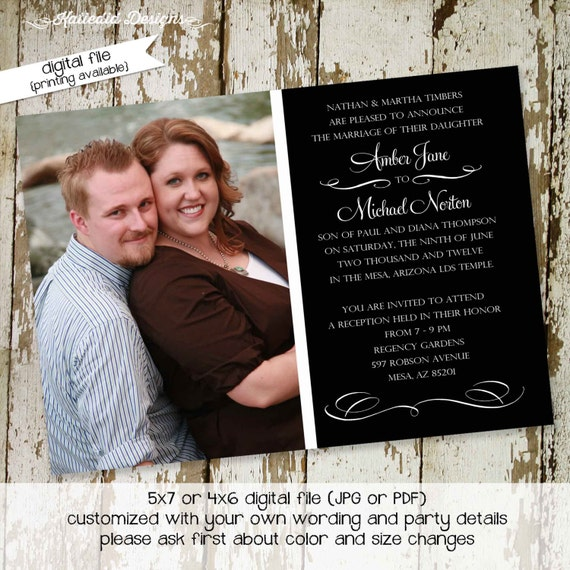 Rehearsal dinner invitation couples shower mormon LDS photo picture Wedding announcement I do BBQ engagement party gay | 362 Katiedid Design