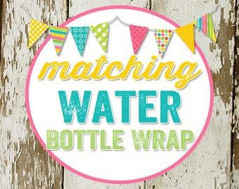 WATER BOTTLE WRAPS to match any design for baby shower or party, digital, printable file katiedid designs cards