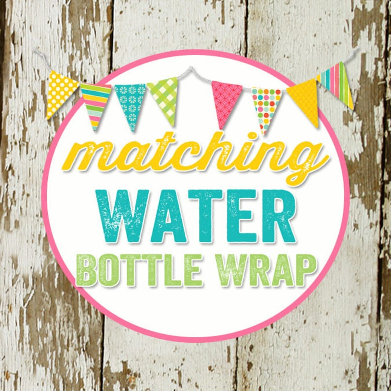 WATER BOTTLE WRAPS to match any design for baby shower or image 0