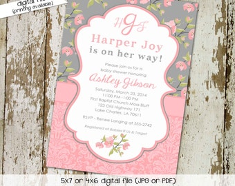 Floral Baby Girl Shower Invitation, Monogram Pink Gray Couple | 1335 Katiedid cards