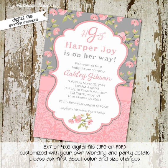 couples baby shower invitation floral pink gray girl monograms mimosas bridal coed twins birthday baptism diaper wipes | 1335 Katiedid cards