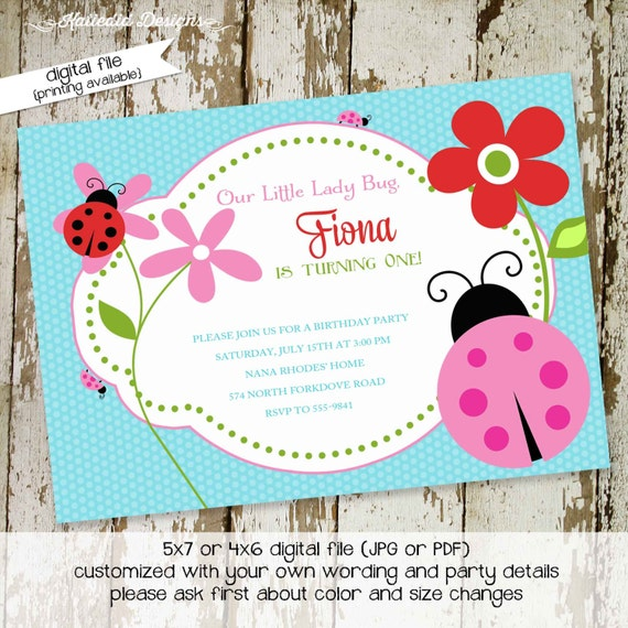 ladybug birthday invitation baby girl shower sprinkle diaper wipes couples coed baptism sip see lady bug garden tea party | 262 Katiedid
