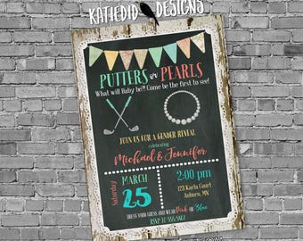 gender reveal invitation twins baby shower golf theme putters or pearls neutral couples coed diaper wipes birthday | 1474 Katiedid Designs