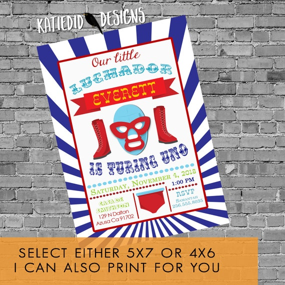 Luchador Birthday Invitation boy twins sibling red white blue 50th 30th 21st baby shower wedding couples wrestling | 2017 Katiedid Designs