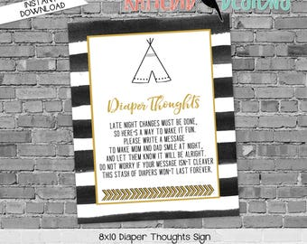 late night diaper sign gender reveal party game where the wild things are wild rumpus black white stripe teepee tribal 292 Katiedid Designs