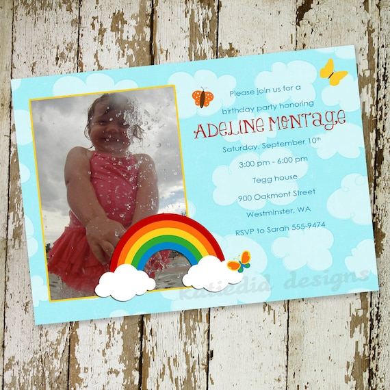 rainbow invitation unicorn birthday first 1st baby shower photo picture announcement clouds girl birth housewarming | 215b katiedid designs