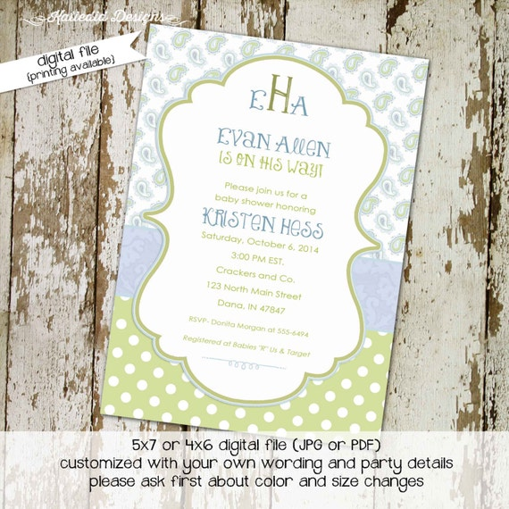 monogram baby shower invitation mimosas brunch boy sprinkle sip and see couples coed diaper wipes paisley blue green | 1272 Katiedid Designs