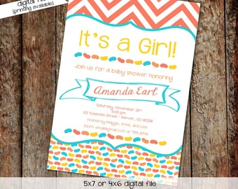 gender reveal invitation jelly bean baby shower coral aqua chevron couples coed diaper wipes sip see sprinkle neutral | 1303 Katiedid Cards