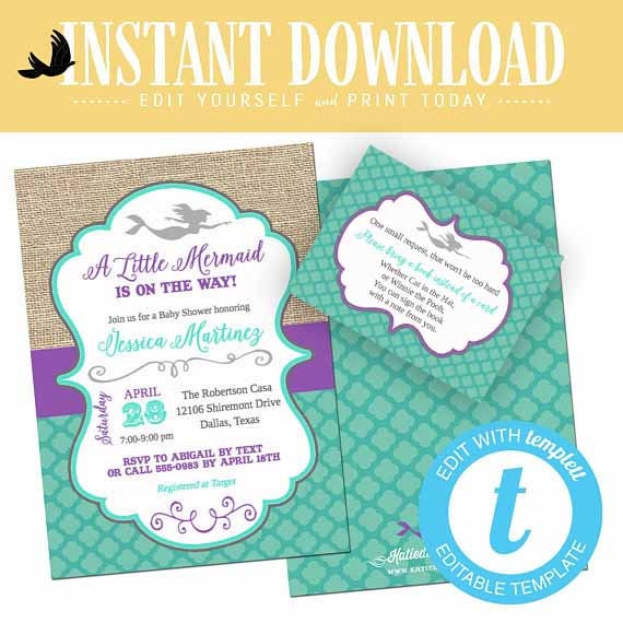 Mermaid Baby Shower Invitation Couples Purple Teal 1st Birthday Party