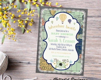 Hot air balloon adventure awaits travel theme gender reveal invitation baby shower neutral couples coed floral world map   1467 Katiedid
