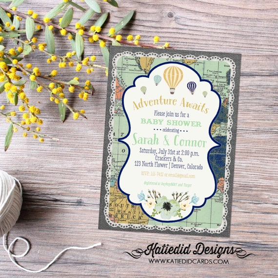 Hot air balloon adventure awaits travel theme gender reveal invitation baby shower neutral couples coed floral world map | 1467 Katiedid