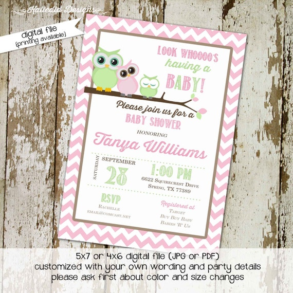 owl baby shower invitation twins gender neutral reveal pink green birthday baptism first communion christening couples | 1306 Katiedid cards