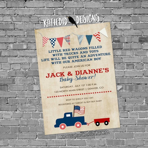 Patriotic birthday invitation retirement party vintage truck all american boy baby shower red wagon radio flyer parade July | 238b Katiedid