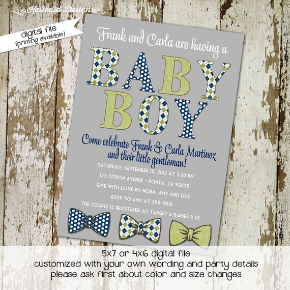 little man bow tie baby shower invitation boy gentleman twins birthday diaper wipes brunch couples coed retirement   1230 Katiedid Designs