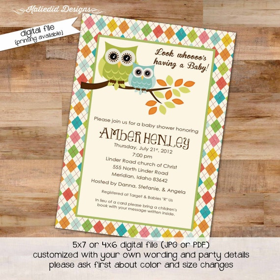owl baby shower invitation gender reveal neutral twins couples coed sprinkle sip see diaper wipes books brunch birthday | 144 Katiedid Cards