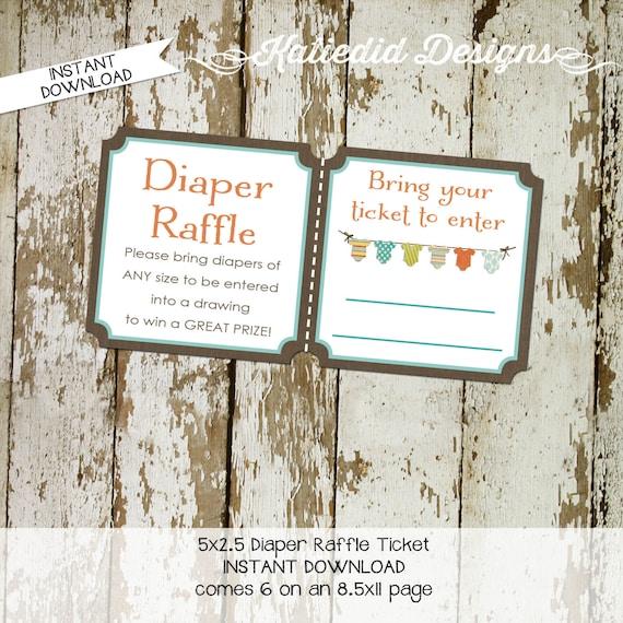 Diaper raffle ticket surprise gender reveal diaper and wipe brunch baby romper invite bodysuit jumper bunting banner 1407 Katiedid Designs