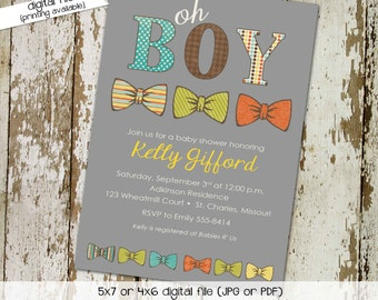 bow tie baby shower invitation little man gentleman oh boy coed sip see diaper wipe first communion baptism birthday | 1239 Katiedid Designs