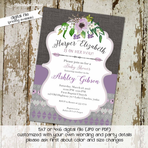 tribal baby girl shower invitation rustic floral boho chic purple gray burlap arrow bridal couples coed girl sprinkle | 1308 Katiedid Cards