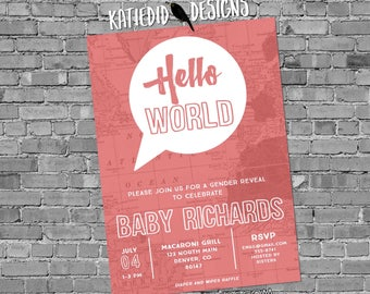 Travel theme baby shower invitation hello world map couples coed gender reveal neutral sprinkle sip see brunch girl   1481c Katiedid Designs