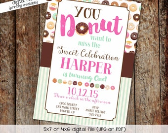 donut party invitation teenage girl birthday sleepover pajama couples baby shower coed mint pink diaper wipes brunch   240 Katiedid Designs