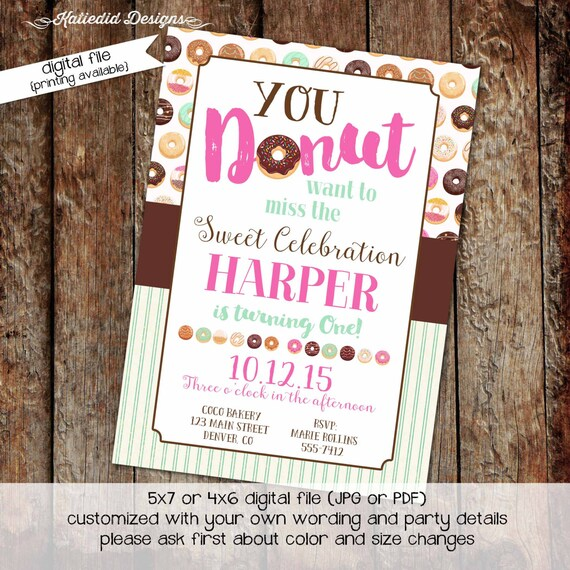 donut party invitation teenage girl birthday sleepover pajama couples baby shower coed mint pink diaper wipes brunch | 240 Katiedid Designs