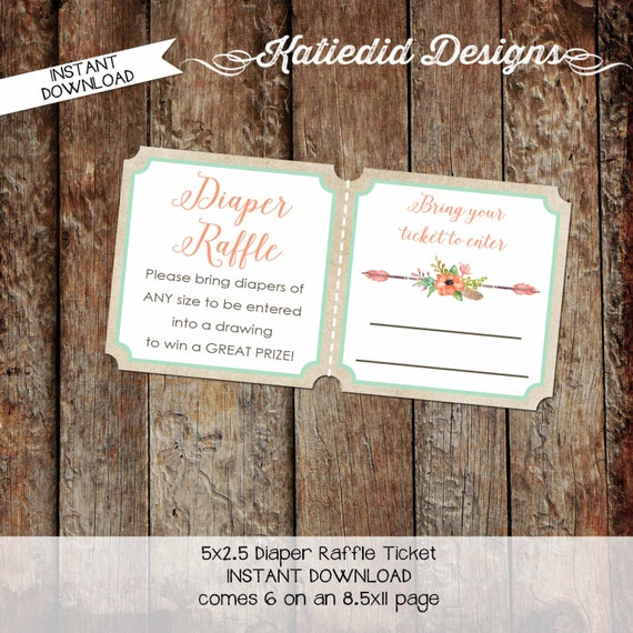 rustic baby girl shower invitation mint coral boho baby shower tribal arrow Diaper raffle ticket insert enclosure card 1445 katiedid designs