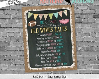 Old wives tales sign touchdown or tutu gender reveal invitation couples baby shower party game burlap lace chalkboard   1431 Katiedid design