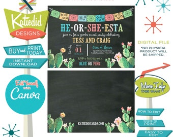 Fiesta gender reveal invitation cactus couples baby shower cinco de mayo coed twins mexican party Edit Yourself Canva | 1490b