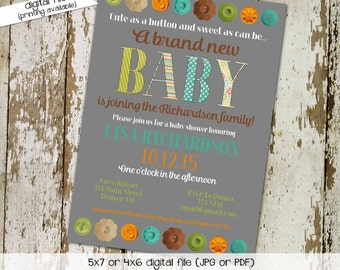Button gender reveal invitation couples baby shower coed twins sprinkle sip see brunch diaper wipes oh cute neutral   1451 Katiedid Designs