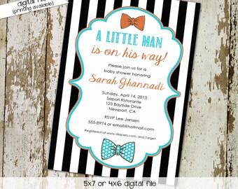 bow tie baby shower invitation little man gentleman couples coed brunch twins black white stripe sprinkle diaper wipes   1299 Katiedid Cards