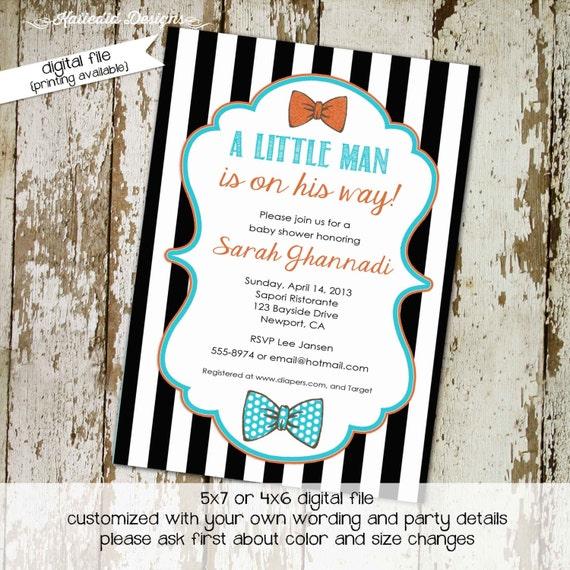 bow tie baby shower invitation little man gentleman couples coed brunch twins black white stripe sprinkle diaper wipes | 1299 Katiedid Cards