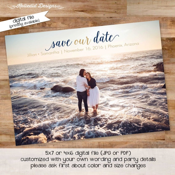 couples shower invitation bridal wedding announcement reception I do BBQ engagement party save the date postcard LGBT | 357 Katiedid Designs