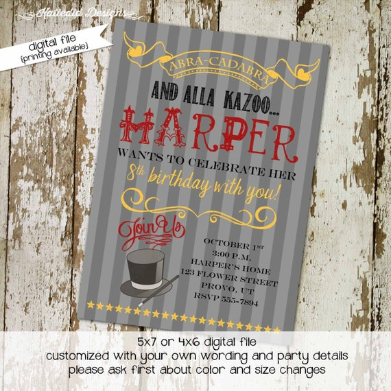 magic birthday invitation little girl magician show abracadabra adults only theme twins boy coed couples wedding retirement | 233 Katiedid