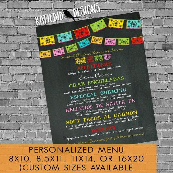 Fiesta wedding menu baby shower rehearsal dinner bridal couple coed printable chalkboard papel picado day dead cinco mayo | 301 Katiedid