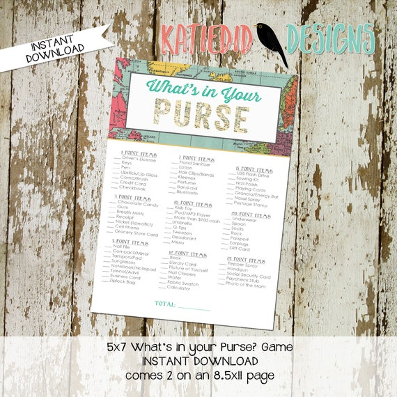 Adventure Awaits oh the places youll go gender reveal party game What's in your purse baby shower Travel Theme boy world map | 1294 Katiedid