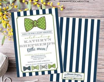 little man bow tie baby shower invitation boy navy stripe green gentleman birthday diaper wipes brunch couples retirement   12102 Katiedid
